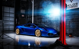 Preview wallpaper Blue color Lamborghini Gallardo supercar indoor