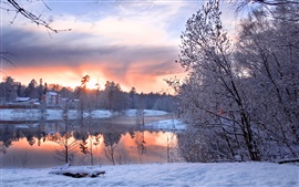 Preview wallpaper Cold winter, snow and ice season, trees, houses, ponds