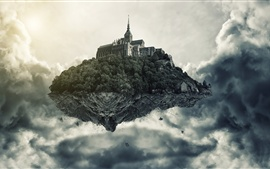 Creative arts pictures, flying island, castle, clouds