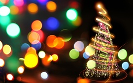 Preview wallpaper Fire tree, beautiful christmas new year colorful lights