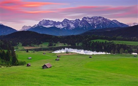 Germany Bavaria landscape, mountains alps, forest, grass, houses, lake