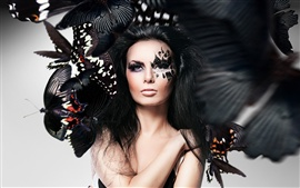 Preview wallpaper Girl makeup, face, butterfly, Photoshop creative design