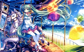 Green hair anime girl sitting on the merry-go-round
