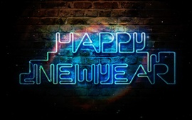 Preview wallpaper Happy New Year, blue neon