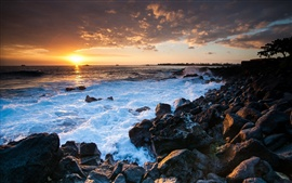 Гавайи Океан закат, скалы, берег