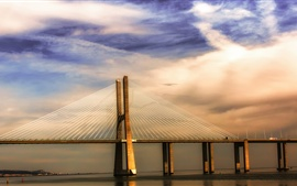 Preview wallpaper Portugal Lisbon river Tagus, bridge, sunset