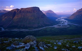 Preview wallpaper Rapa River, Sweden, Sarek National Park, mountains, rocks