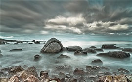 Preview wallpaper Sea stones clouds