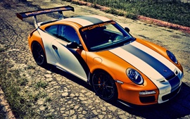 Sport car, Porsche 911 GT3, orange and white color