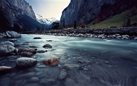 Switzerland, Lauterbrunnen, beautiful landscape, river, rocks, mountains, houses