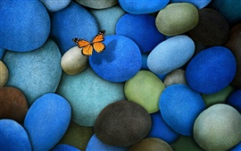 Preview wallpaper The blue cobblestone, butterfly