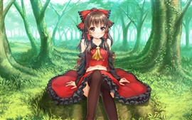 Preview wallpaper The forest anime girl sitting on the green grass, red dress