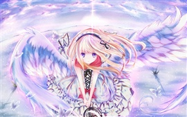 Anime girl wings, sky, flying, butterfly hairpin