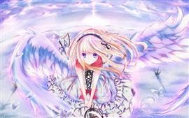 Крылья Аниме девушка, небо, полет, бабочки шпильки