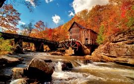 Autumn of nature, water tankers, Mill, creek, river, rocks Wallpapers Pictures Photos Images