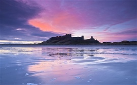Preview wallpaper British castle, coast, dusk, sunset, lilac, sky, clouds