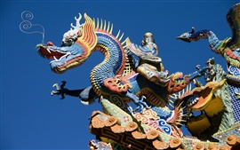 Preview wallpaper China building, dragon and phoenix carving art