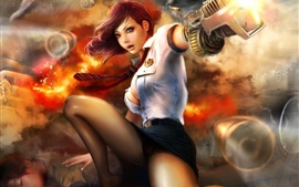 Preview wallpaper Creative arts painting, girl, shooting, war