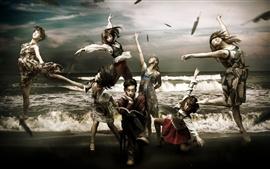 Fotos creativas, las niñas bonitas del libro, la danza, el mar