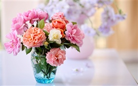 Preview wallpaper Desktop still life, roses, vase flower arrangement