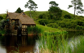 Preview wallpaper Fresh air and green nature, ponds, huts, grass