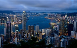 Preview wallpaper Hong Kong landscape, city buildings, cloudy morning