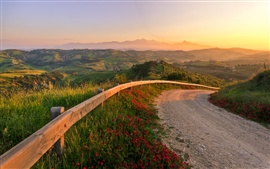Preview wallpaper Italy, sunset, fabulous landscape, road, hills, nature