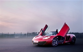 Preview wallpaper McLaren MP4-12C red color supercar, doors opened