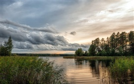 Preview wallpaper Nature beautiful scenery, lake, water, trees, cloudy sky
