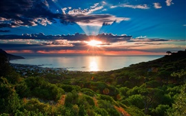 South Africa, Cape Town, sunset scenery, sea, coast, sky, clouds