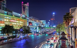 Thailand, Bangkok, city at night, streets, lights, cars