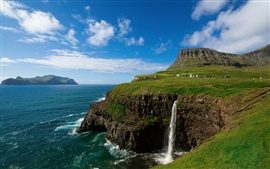 The Kingdom of Denmark, the Faroe Islands, village, mountains, waterfalls, sky, sea, blue