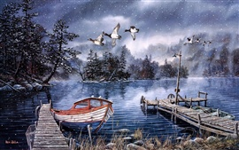 Preview wallpaper Watercolor painting, lake and woods, snow winter, dock, ducks, boat