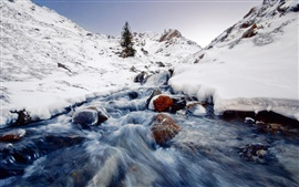 Preview wallpaper Winter landscape, snow, ice, streams, stone, mountain