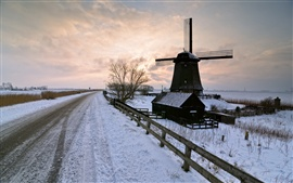 Preview wallpaper Winter snow, road, windmill, sunset