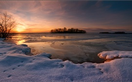 Preview wallpaper Winter snow, sunset, lake