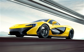 Preview wallpaper 2013 McLaren P1 yellow supercar