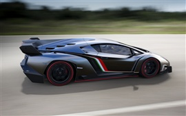 Preview wallpaper 2013 supercar Lamborghini Veneno running in high-speed