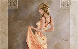 La pintura artística, niña rubia, vestido hermoso