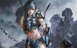 Preview wallpaper Art paintings, female soldier in the rain, fantasy girl