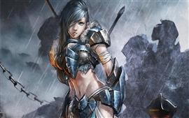 Vorschau des Hintergrundbilder Kunst Gemälde, Soldatin in der regen, fantasy girl