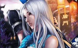Preview wallpaper Arts fantasy girl, white hair, sword, night
