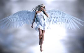 Beautiful angel girl, white clothes and wings