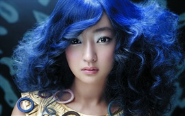 Preview wallpaper Beautiful blue-haired Asian girl