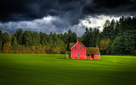 Canada, British Columbia, cloudy sky, forest, farm, red house