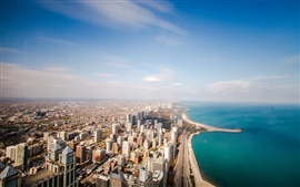 Chicago, USA, Illinois, ocean, coastline, horizon, sky, clouds, skyscrapers, roads