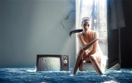 Preview wallpaper Creative design, girl, television, water in the house