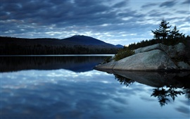 Dark blue sky clouds, lake water, reflection, forest, mountains, morning scenery