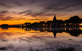 Preview wallpaper England, town scenery, house, lights, sunset, lake water reflection
