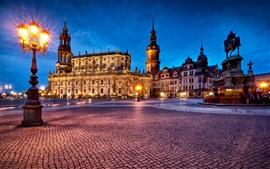 Germany, Dresden, Theatre Square, night lights Wallpapers Pictures Photos Images